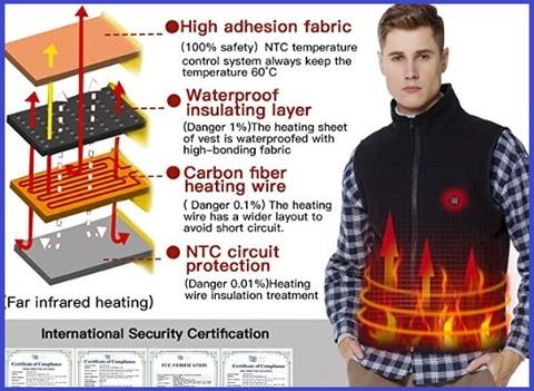 Gilet riscaldato pile regolabile