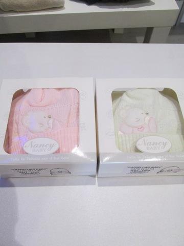 Cappellini invernali rosa e bianco 100% cottone