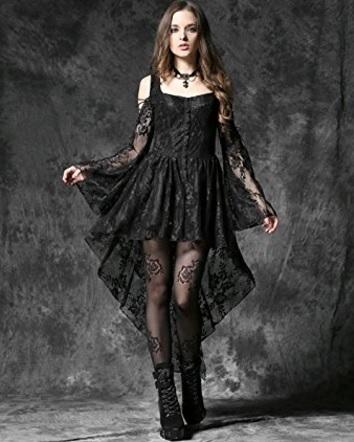 Vestito lungo maniche lunghe dark con scollo
