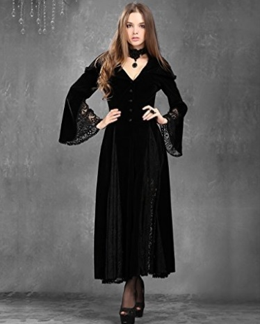 Vestito Con Cappuccio E Mantello Lungo Dark Gothic