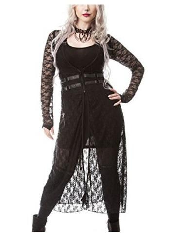 Vestito Cardigan In Pizzo Lungo Con Lacci Gothic