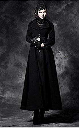 Cappotto Lungo Stile Gotico Con Bottoni Frontali