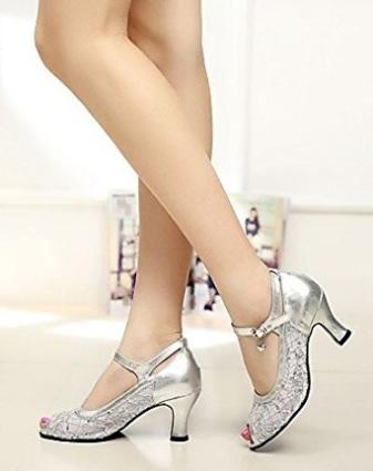 Scarpe da ballo moderne con tacco in argento