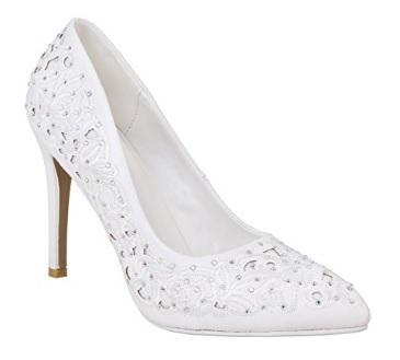 Scarpe per ballare con tacco bianche e argento