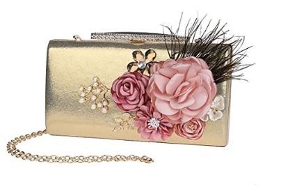 Pochette Oro Con Perline E Strass Fiori In Raso
