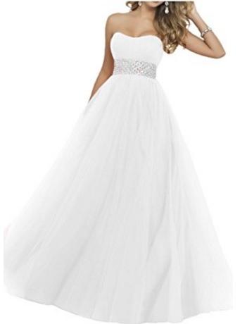 Vestito Elegante Con Fascia Perline Matrimonio