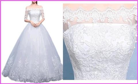 Vestito Da Sposa, In Pizzo Lungo Stile Principessa
