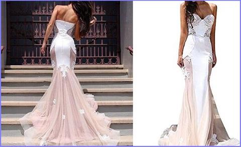 Vestito Elegante Da Sposa, Lungo E Scollato