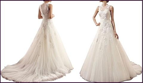 Vestito in tulle, per matrimonio senza maniche