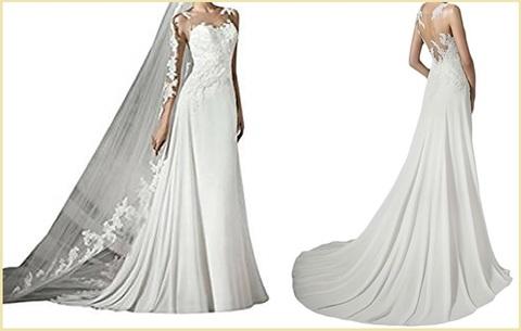Vestito da sposa, con strascico lungo