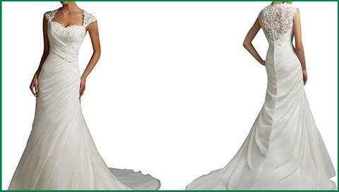 Vestito da sposa a sirenetta, con scollo e pizzo
