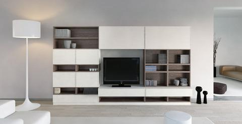 Mobile moderno frassino finitura bianco e rovere grigio - mobili per ...