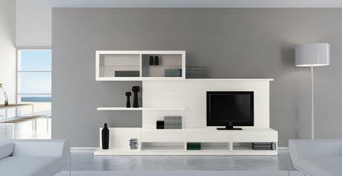 Arredo soggiorno  frassino bianco e vetro trasparente