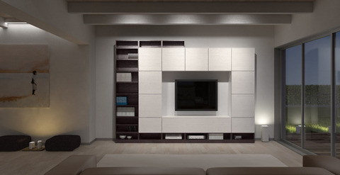 Mobile moderno a parete wengè e bianco acireale