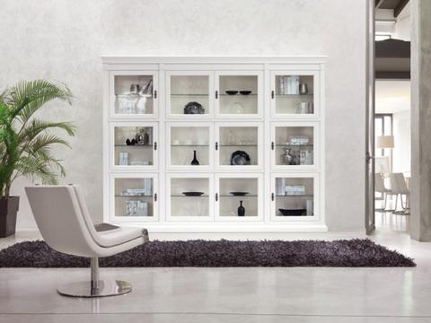 Composizione struttura classica a libreria laccatura bianca