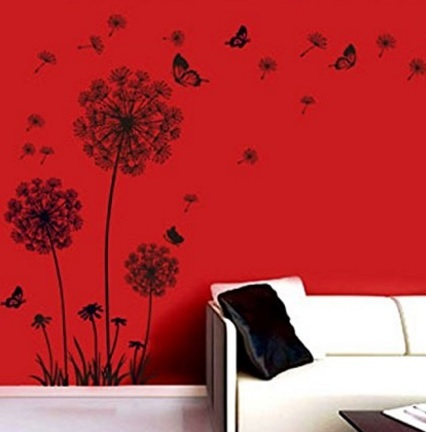 Adesivi con fiori e farfalle decorazione murale
