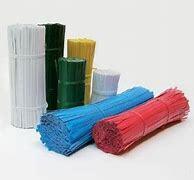 Fermagli per chiusura sacchetti , blu, mm. 70 x 4