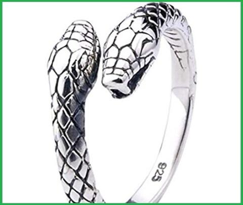 Anello in argento 925 ‰  a forma di serpente cobra che si morde