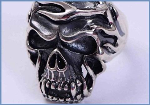 Anello teschio argento