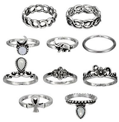 10 anelli diversi vintage etnici a scelta