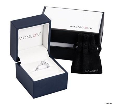 Anello di fidanzamento moncoeur con cristalli di zirconia
