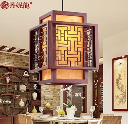 Lampada cinese in legno antiquariato stile retrò
