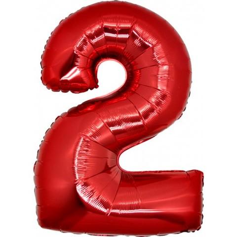 Palloncino a forma di numero 2 rosso