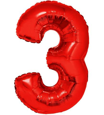 Palloncino a forma di numero 3 rosso