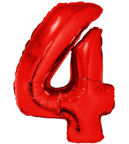 Palloncino a forma di numero 4 rosso