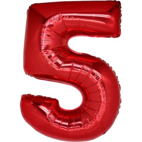 Palloncino a forma di numero 5 rosso