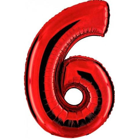 Palloncino a forma di numero 6 rosso