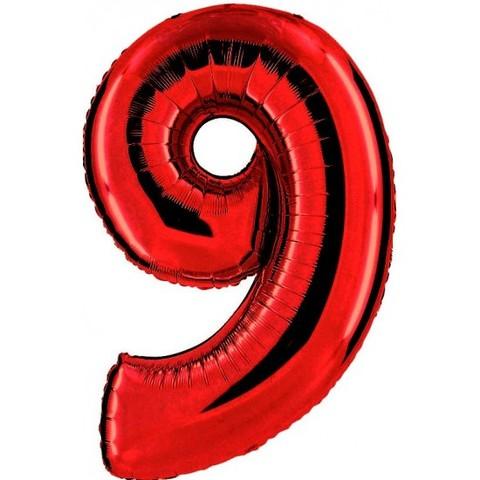 Palloncino a forma di numero 9 rosso