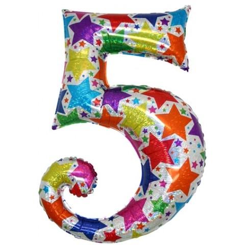 Palloncino a forma di numero 5 olografico stelle