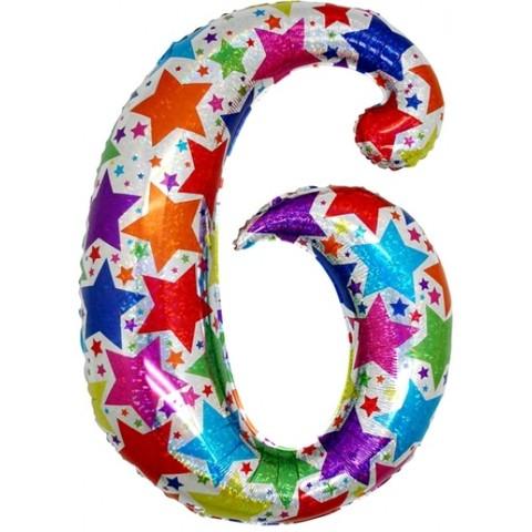 Palloncino a forma di numero 6 olografico stelle