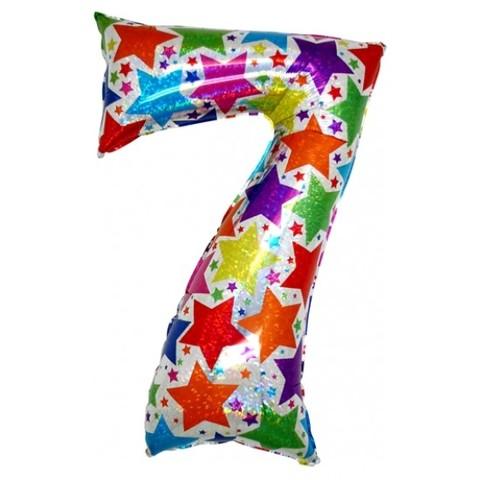 Palloncino a forma di numero 7 olografico stelle