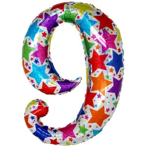 Palloncino a forma di numero 9 olografico stelle