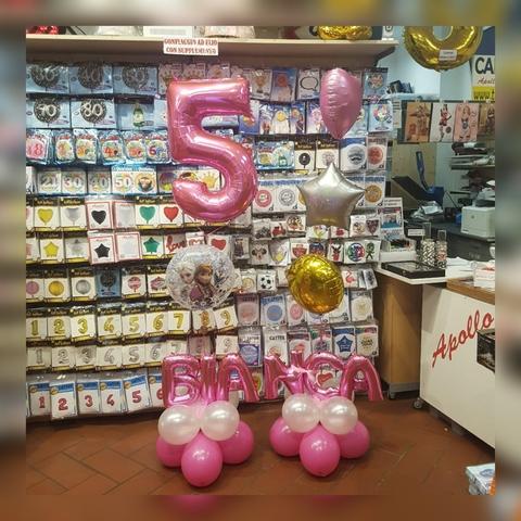 Composizione di palloncini per compleanno a tema frozen