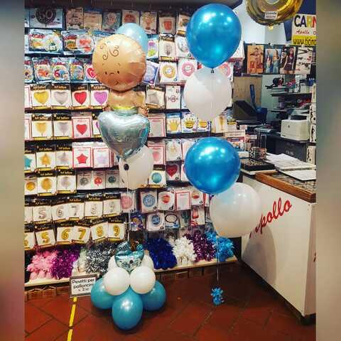 Decorazione di palloncini per babyshower nascita