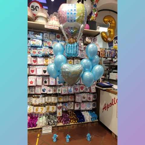 Decorazione di palloncini con mongolfiera per nascita bimbo