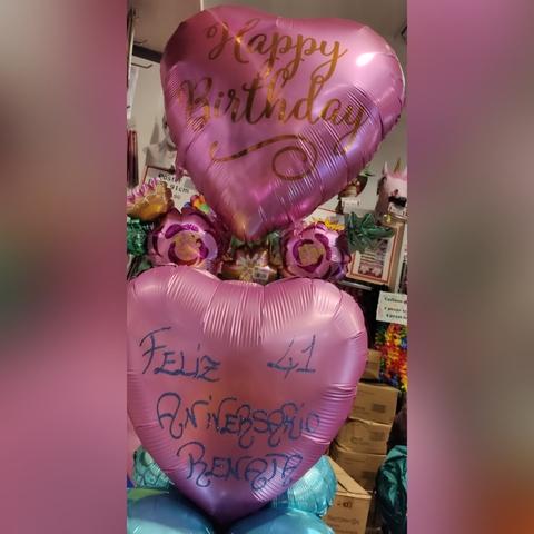Centrotavola di palloncini con scritta glitter