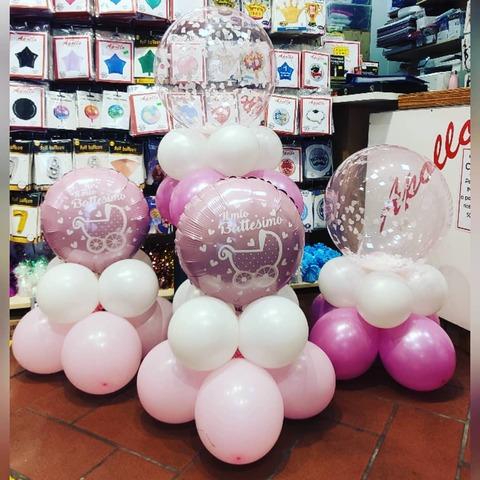 Decorazioni con palloncini per battesimo bambina