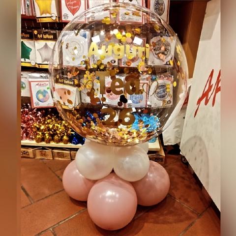 Centrotavola Palloncino Bubble Con Scritta Personalizzata