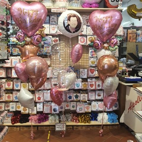 Decorazione Di Palloncini Happy Birthday Floreale