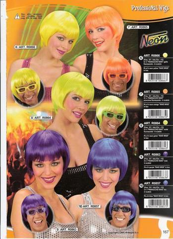 Parrucca a caschetto neon anni 80