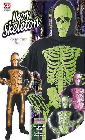Vestito di carnevale scheletro fluo