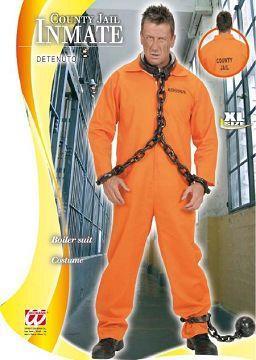 Vestito di carnevale carcerato arancio fluo