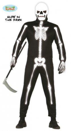 Costume di halloween sceletro fluo