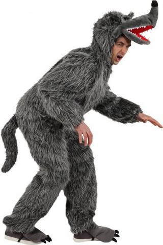 Costume di carnevale da lupo in peluche