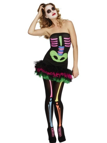 Costume di halloween scheletra neon tutù