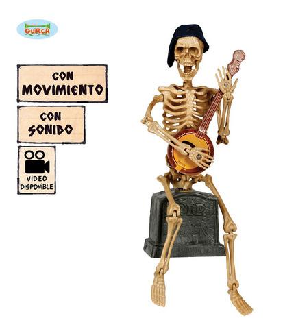 Decorazione di halloween scheletro con banjo